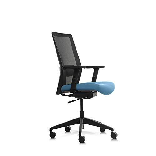Wipro Furniture Adapt Medium Back Executive Ergonomic Office Chair with Automatic Weight Sensing Mechanism and Height Adjustable Arms (Cool Blue)