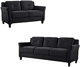 Home Square Transitional 2 Piece Sofa and Loveseat Sets in Black