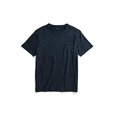 Tommy Hilfiger Men's Adaptive Pocket T Shirt with Magnetic Buttons at Shoulders, Navy blazer, Small by Tommy Hilfiger
