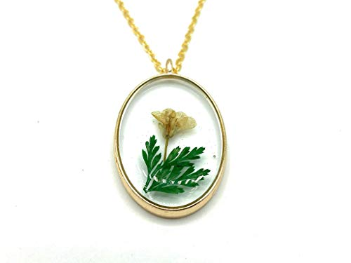 Oval shaped Real Pressed Dried Yellow Flower and Green Leaf Necklace with Gold plated chain. Gift box included