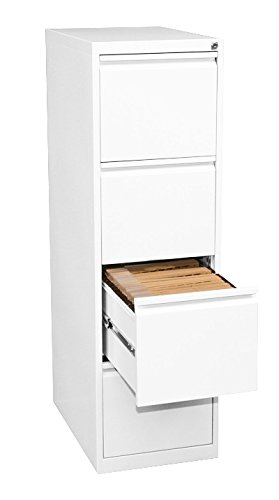 Profi Stahl Büro Hängeregistratur in weiß Schrank Bürocontainer 1320 x 400 x 620mm (HxBxT) mit 4 Schüben, einbahnig 560417 kompl. montiert und verschweißt