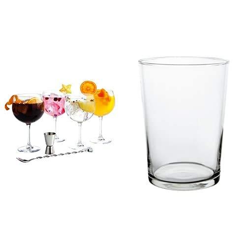 Luminarc Set 6 Piezas Modelo Fiesta Combinados Juegos de cristalería, Vidrio sodo, 71,5 cl, 26 cm + 4 Vasos de Sidra, 4 X 53 cl