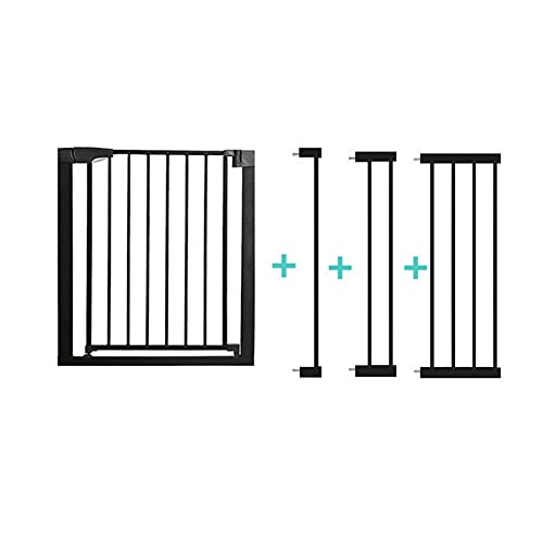 Barrera de Seguridad de niños ,Safety 1st - Rejilla para Escaleras, , Extraseguro, Puerta para mascotas con cierre automático,Rejilla Metálica para Sujeción,75-82 cm(Size:75-82+7+14+28cm,Color:negro)