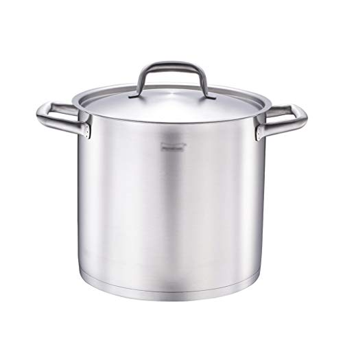 Grote kookpan, niveau van helder water, diameter 24 cm, hoogte 22 cm, roestvrij staal zilver.