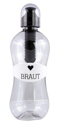 Bobble Trinkflasche Braut als Geschenk zur Hochzeit, originelles Hochzeitsgeschenk, BPA frei, 550ml, schwarz weiß
