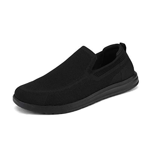 Bruno Marc SUNVEN Zapatillas Deportivo para Hombres Zapatillas de Deporte Hombres sin Cordones Running Zapatos Gimnasia Entrenamiento Sneakers Transpirables Todo Negro 43 EU/10 US