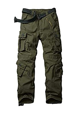 AKARMY Men's Ripstop Wild Cargo Pants, Relaxed Fit Army Camo Combat Casual Work Trousers with 8 Pockets 3355 ArmyGreen 34