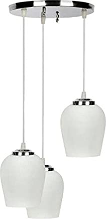 NMII White Color Dome Shape Pendant Ceiling Lamp Set of Three Lamp Hanging in One Fitting Colorful & Hand Decorative.