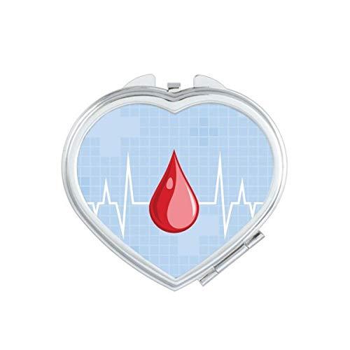 DIYthinker Coeur Électrocardiogramme Design Pattern Miroir de Maquillage Compact Portable Coeur Mignon Cadeau Miroirs de Poche à la Main Multicolor