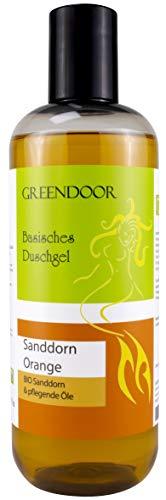 500ml Greendoor Basisches Natur Duschgel Sanddorn Orange, biologisch abbaubar, vegan, Bio Sanddorn, Naturkosmetik ohne Sulfate Silikone Parabene, natürlich parabenfrei, outdoor geeignet, natural