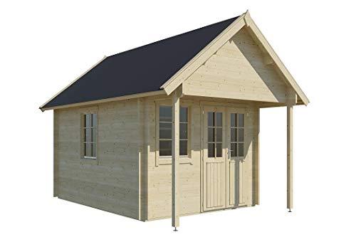 Vikträ Gartenhaus Boden II 40 ISO Blockhaus 290x380cm + 100cm 40mm Holzhaus Gerätehaus