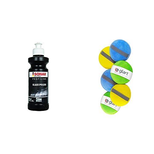 SONAX PROFILINE GlassPolish zum Entfernen von leichten Verkratzungen, Vermattungen und Verätzungen aus Echtglas & Glart 46PP Mikrofaser Handpolierschwamm 6er Set, 130x25 mm, Wax Applikator Pad