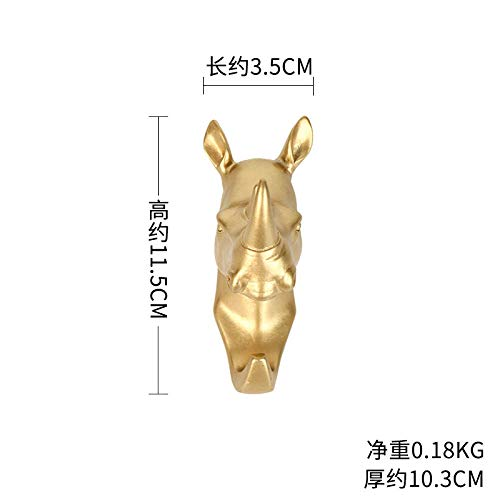 WANDOM Gouden Decoratie Haak Paard Hoofd Olifant Rhino Dierenkop Vorm Sleutelhanger Haak Porch Entree Hal A4821