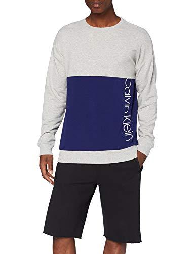 Calvin Klein Herren L/s Sweatshirt Schlafanzugoberteil, Grau (Grey Heather W/Horoscope Piecing 080), Medium