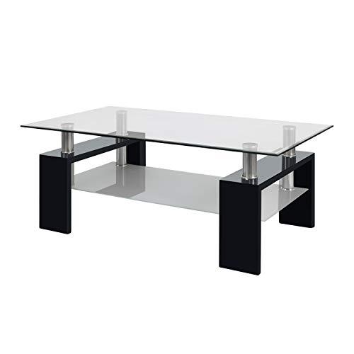 duehome Mesa Centro Moderna de Cristal, Mesita Salon, Color Negro, Medidas: 110 cm (Largo) x 60 cm (Ancho) x 45 cm (Altura)
