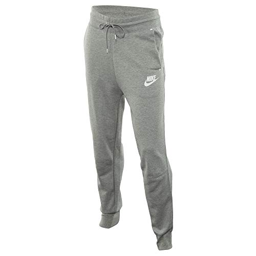 Nike Damen W NSW TCH FLC Pants, dk Grey Heather/Matte Silver/White, XL