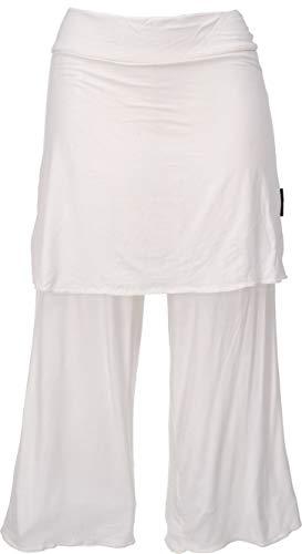 GURU SHOP Pantalones de yoga 3/4 con falda, holgados, para mujer, sintéticos, largos, ropa alternativa Color blanco natural. M
