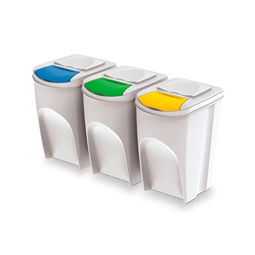 Prosperplast Sotibox 3x35L Raccolta Differenziata Colore Bianco