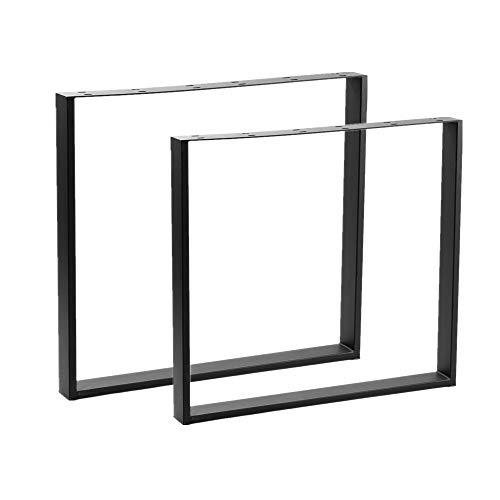 HENGMEI 2 x Tischgestell Möbelfüße Stahl Pulverbeschichtet Tischkufen Tischbein Tischuntergestell 60x72cm Rechteck-Gestell, Schwarz