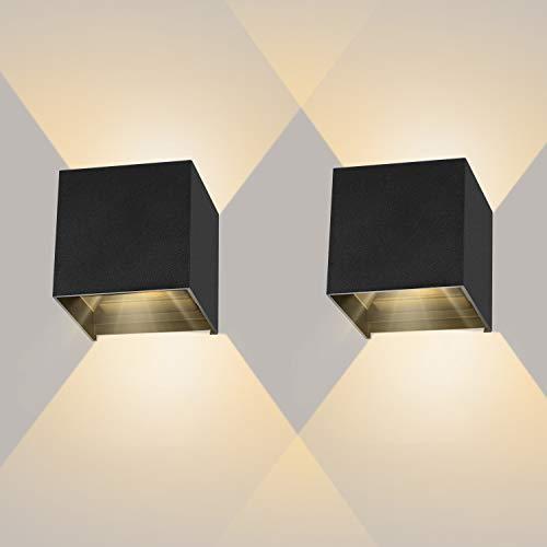 LEDMO 2 Pcs 12W Aplique pared LED Blanco Cálido 3000K 1000lm Lampara de pared Interior/Exterior Impermeable IP65 Ángulo ajustable Lámpara Pared Negro