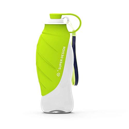 BePetMia Botella de Agua portátil de Viaje para Perros, Tapa Plegable como Cuenco, Botella de Agua de Silicona para Perros, Exterior, 580 ml (Verde)