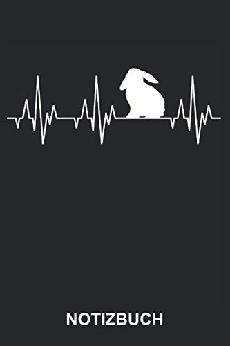 Notizbuch: Hase Kaninchen Karnickel Züchter Tiere Tiermotiv Lustig Niedlich Herzschlag EKG   Notizbuch, Tagebuch, Notizheft, Schreibheft   ca. A5 mit Linien   120 Seiten liniert   Softcover