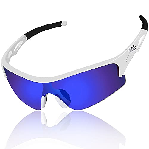 O2O Polarized Sports Sunglasses for Men Women Teens Youth Running Driving Golf Durable Frame (White, Blue)
