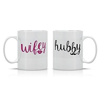 Wifey/Hubby Couple Mug - 11OZ Coffee Mug Set - Perfect Gift for husband and wife - Mugs For Couples - Crazy Bros Mugs