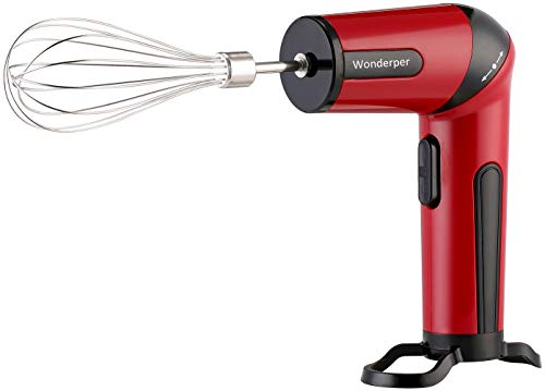 Wonderper Cordless Mixer Rechargeable Hand Mixer Hand Mixer Battery Hand Mixer Battery Operated Cordless Kitchen Mixer - Red