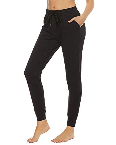 """STELLE Women's Cotton Sweatpants LightweightYoga Joggers Athletic Workout Track Pants with Pockets 28"""" Black"""
