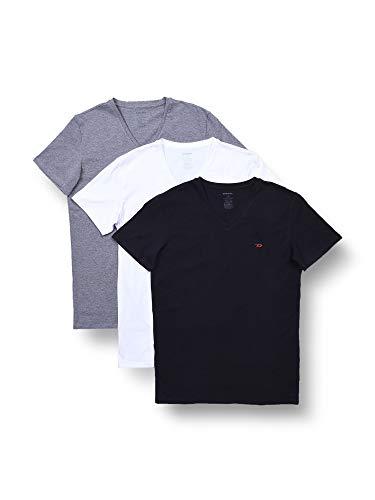 Diesel UMTEE-MICHAEL3PACK, Camiseta para Hombre, Multicolor (Dark Grey Mélange/Black/Bright White E3843/0wavc), L, Pack de 3