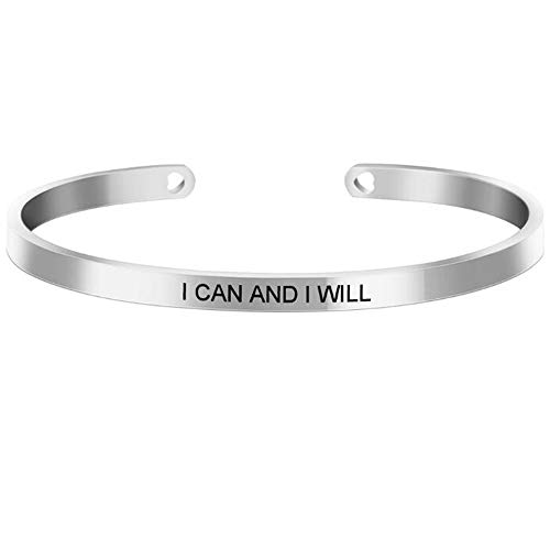Jude Jewelers Stackable Stainless Steel Inspiration Mantra Cuff Bangle Bracelet Graduation Gift (I can and I Will)
