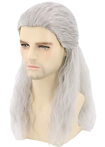Topcosplay Lunga Parrucca Grigia da Uomo Geralt of Rivia Parrucca Ispirata al The Witcher Cosplay Halloween Parrucca (Grigia)
