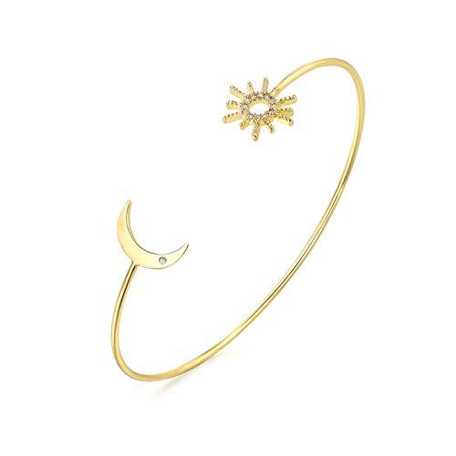 YeGieonr Pulseras de oro para mujer, brazalete abierto para mujer con chapado en oro de 18 quilates, brazaletes de latón minimalistas ajustables en forma de C