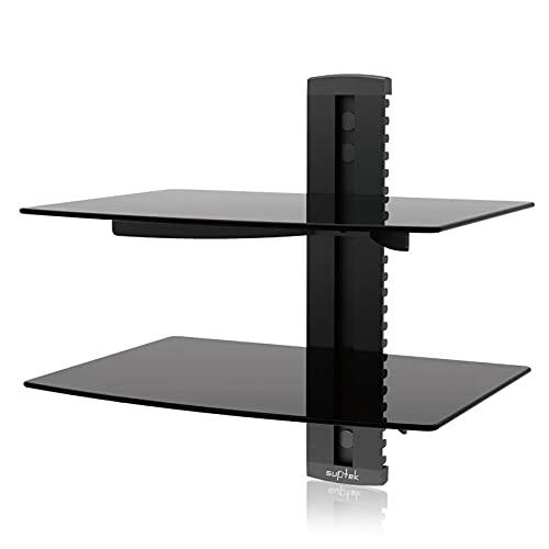 Suptek Soporte de Pared para 2 estantes flotantes(Vidrio Templado) de DVD/Cajas de Cable/Consolas de Juegos/Accesorios de TV, Negro CS202