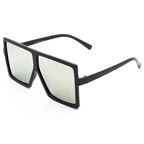 Personality-großer Feld-Flug mit Film Anti-UV-Trend Grau Ant Sonnenbrille Dies ist EIN Produkt, das Ihre Augen schützen kann (Color : Black Frame/Silver Lens)
