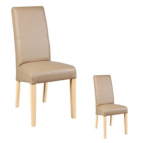 Tousmesmeubles Duo de chaises Similicuir Taupe - Kuban - L 47 x l 52 x H 97 - Neuf