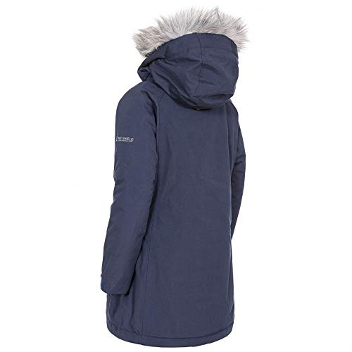 Trespass Fame Warm Padded Waterproof Winter Jacket with Removable Hood for Kids/Girls (Cosmic Blue, 7-8 Years)