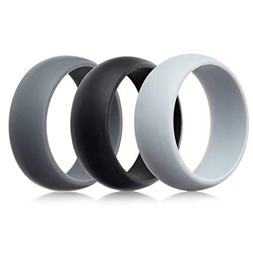 JewelryWe Schmuck 3pcs Silikon Eheringe, Gummi Hochzeit Bands Gummibänder Ring für Herren Männer, Weiß Schwarz Grau, Größe 59