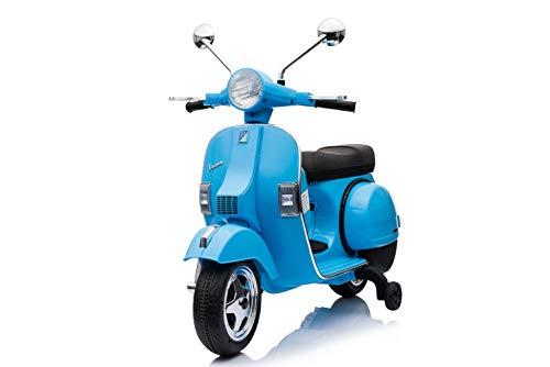 ES-TOYS Moto Scooter eléctrico para niños Vespa, Asiento de Cuero, MP3, USB, 2X 6V Electric Motors, Color:Azul