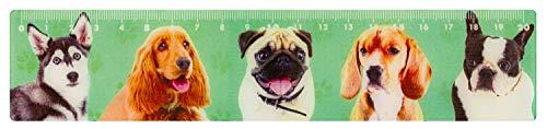 Stylex 48731 – Regla Flexible 3D – Dog Collection, Aprox. 20 cm, en 5 diseños Diferentes, de plástico, para Dibujar y medir líneas Rectas, escolarización