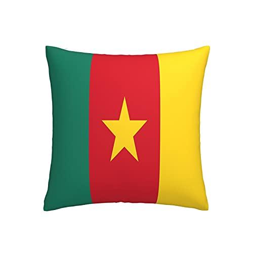 Kissenbezug mit Flagge von Kamerun, quadratisch, dekorativer Kissenbezug für Sofa, Couch, Zuhause, Schlafzimmer, drinnen & draußen, niedlicher Kissenbezug 45,7 x 45,7 cm
