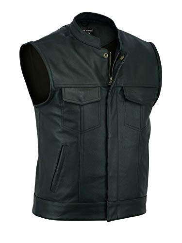 ARD Men's SOA Motorcycle Genuine Cowhide Leather Club Style Vest with Concealed Gun Pockets New S-6XL (4XL)