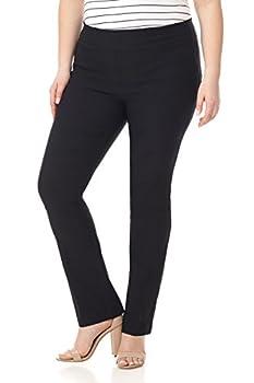 Rekucci Curvy Woman Plus Size Modern Straight Leg Pant w/Tummy Control  16W Black