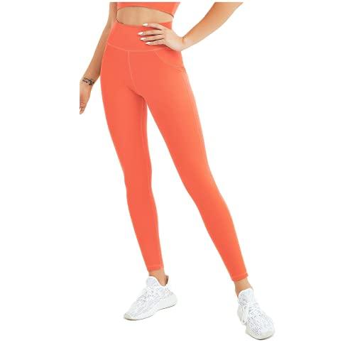 QTJY Leggings Casuales de Cintura Alta, Flexiones para Damas, Pantalones Deportivos para Correr, Pantalones de Yoga elásticos de Secado rápido CM