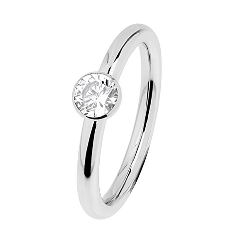 Ernstes Design Evia Ring, Vorsteckring, Beisteckring, Edelstahl ca. 2 mm mit Zirkonia R468.WH (52 (16.6))