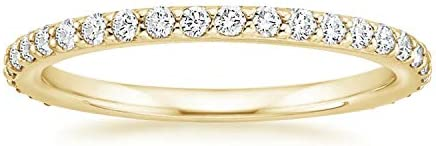 PAVOI 14K Gold Plated Sterling Silver Cubic Zirconia Diamond Stackable Eternity Bands Yellow product image