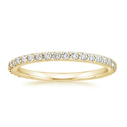 PAVOI 14K Gold Plated Sterling Silver Cubic Zirconia Diamond Stackable Eternity Bands Yellow Gold for Women Size 9