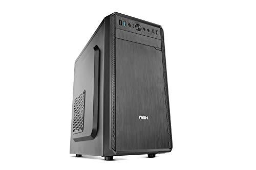 Nox LITE030 - NXLITE030 - Caja PC, frontal con acabado cepillado, fuente alimentación ATX 500W preinstalada, compatible con placas ATX, micro ITX, color negro