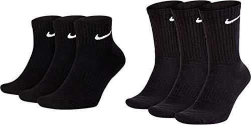 Nike 3 - Calcetines cortos y 3 largos (6 pares), color blanco y negro Negro 34/38 EU